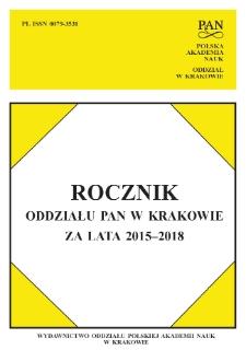 Rocznik Oddziału PAN w Krakowie 2015-2018